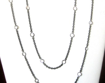 44-Inch Antique Gunmetal & 26 Paste Necklace