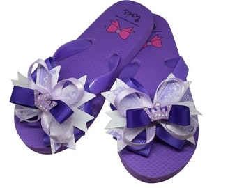 Purple Flip Flops with Princess Crown Boutique Bow
