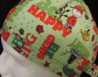 Peanuts Charlie Brown Snoopy  Christmas Holiday Tie Back Surgical Scrub Hat Cap