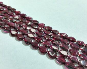 "Garnet Flat Teardrop Faceted Beads 5x7mm, 13.5""L"
