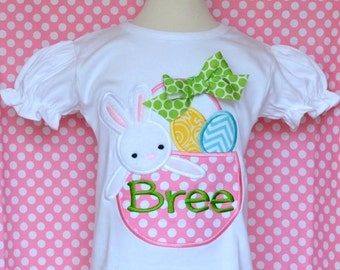 Personalized Easter Bunny in Basket with Eggs Applique Shirt or Onesie Girl or Boy