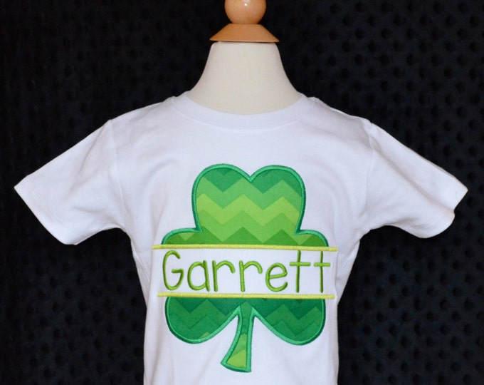 Featured listing image: Personalized St. Patrick's Day Shamrock Applique Shirt or Onesie Girl or Boy