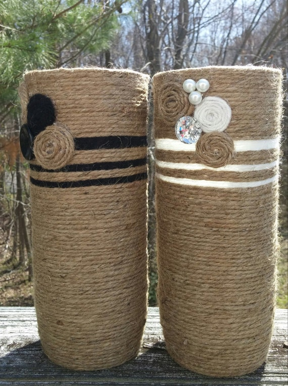 Bohemian jute vase set wine bottles yarn bottles vases