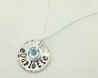 Hand stamped Dainty Disc Charm pendant with name of your choice and Swarovski crystal drop hung on sterling or GF chain.