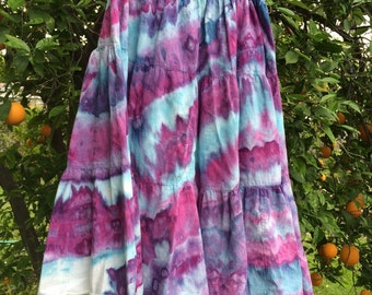 Tiered up-cycled purple cotton skirt size 15