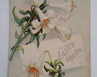 White Jonquils Postcard Easter Greeting International  Art Publishing Company