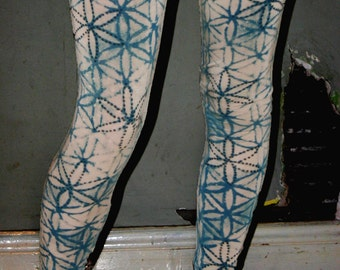 tie dye Sacred geometry flower of life teal leggings