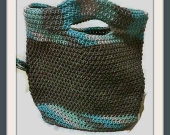 Two in One Handbag , Crochet Clutch Purse , Gray Crochet Purse , Two in One Tote Bag , Two in One Purse , Convertible Handbag , OOAK Handbag