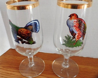 """Nice  gold accented goblet with wildlife motif. Turkey.  The hen goblet has sold!   7"""" tall"""