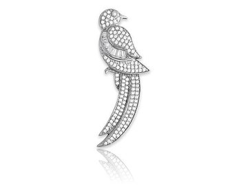 Sterling Silver Micro Pave & Baguettes Bird with Long Tail Pendant