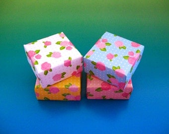 4 origami boxes . gift boxes . decorative boxes - party favor boxes . wedding favor boxes . jewelry box . bridal shower boxes