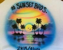 Set of 6 Custom Airbrushed Tshirts Airbrush shirt T-shirt Custom tee Couples Event 5K Reunion Vacation Beach ADULT YOUTH Kids