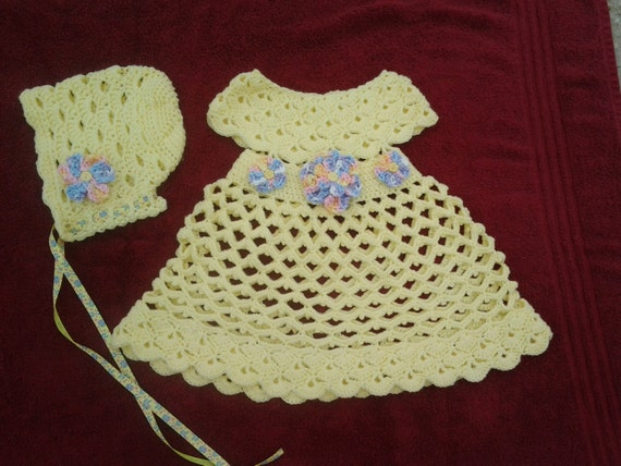 Crochet Baby Dress And Bonnet Pattern : Crochet baby dress & bonnet baby summer by ShellyBellsCrochet