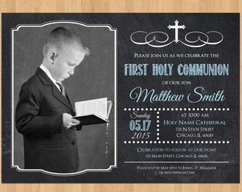 Boy First Communion Invitation, First Communion Invitation Printable, First Communion Invitation Boy, First Communion Boy, Photo Chalkboard