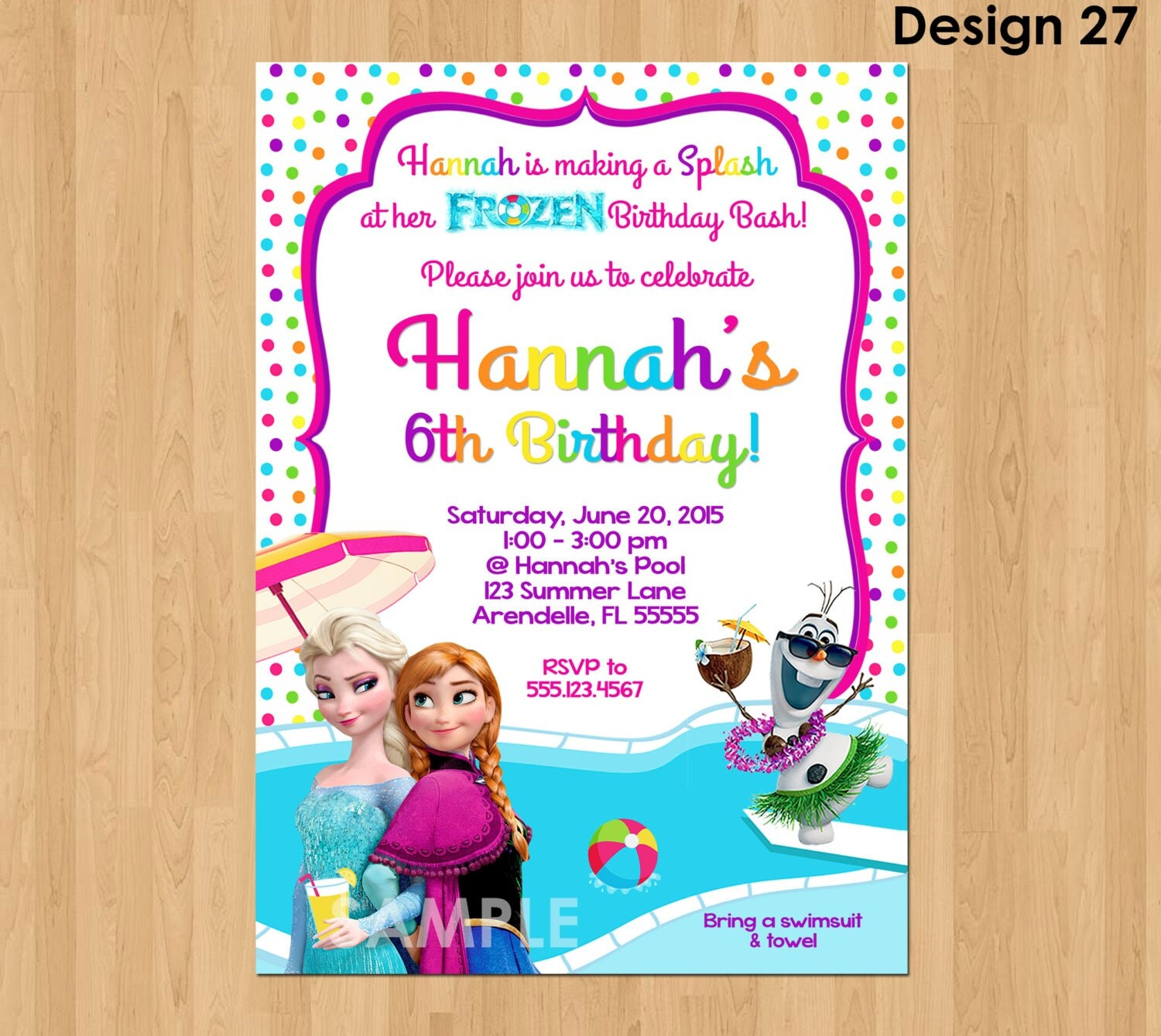 Frozen Summer Invitation Frozen Pool Party Invitation Frozen – Party Invitations Frozen