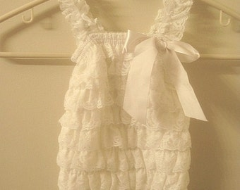 Baby Toddler Ruffle Petti Romper With Straps Off White Large