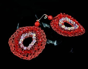 Red copper wire crochet earrings with Swarovski crystal ab.