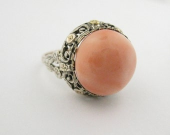 Victorian 14k White and Yellow Gold Coral Cab Ring
