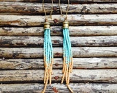 Long Bohemian Earrings, Turquoise and Gold Earrings,  Seed Bead Earrings, Tribal Jewelry, Tassel Seed Bead Earrings