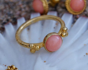 Pink Coral Stacking Ring 18 k gold Vermeil Over 925 k Sterling Silver By Ferimer Handmade