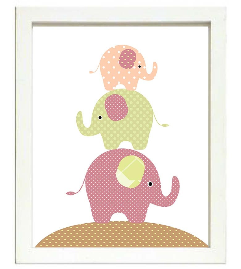 Elephant Nursery Art Nursery Print Baby Art Baby Animal Elephant Pink Green Brown Polka Dots Wall Ar