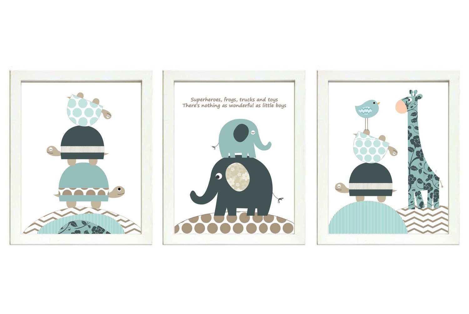 Blue Grey Brown Beige Boys Nursery Art Print Set of 3 Elephant Owl Bird Turtle Giraffe Baby Nursery