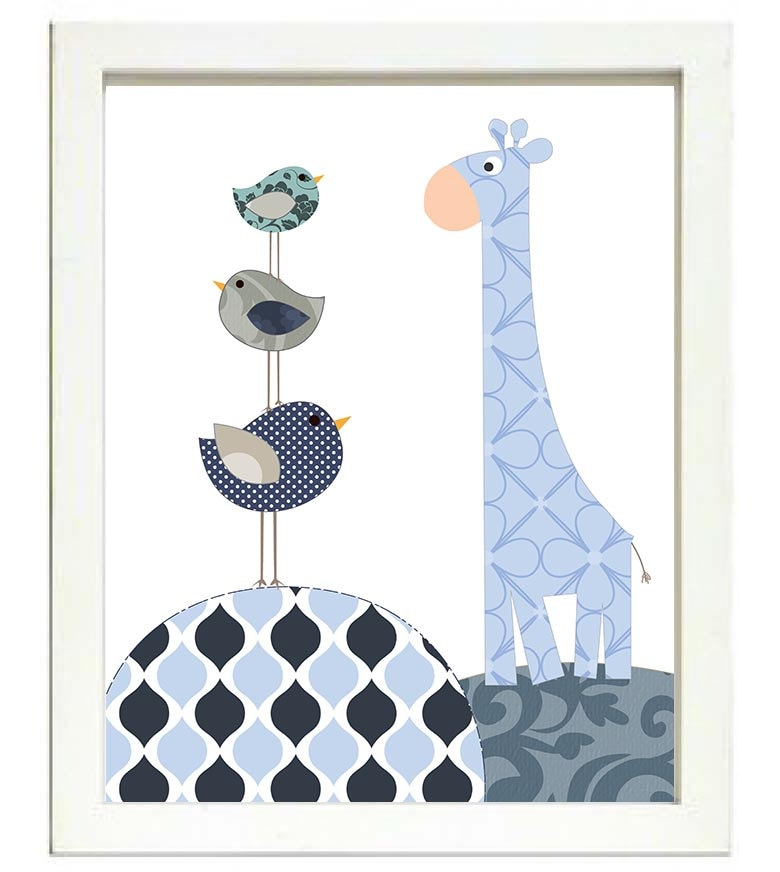 Giraffe Bird Nursery Art Nursery Print Baby Art Animal Navy Blue Polka Dots Chevron Stripes Wall Art