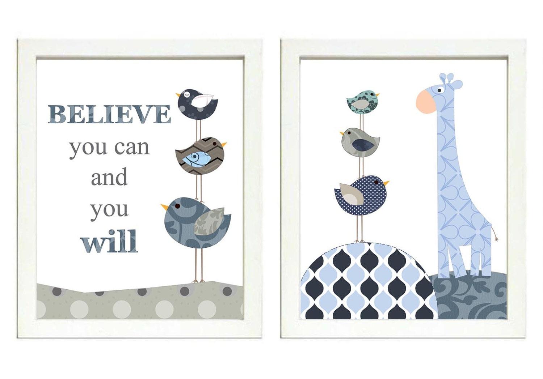 Navy Blue Grey Boys Nursery Art Print Set of 2 Bird Giraffe Believe you can and you will Baby Nurser