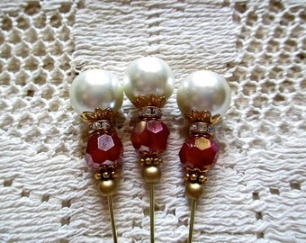 Handmade Stick Pins Scrapbook Embellishment Hat Pin Pack Pearl Bouquet Pin Bouquet Accessories Millinery Pin Set Beaded Stick Pins for Cards
