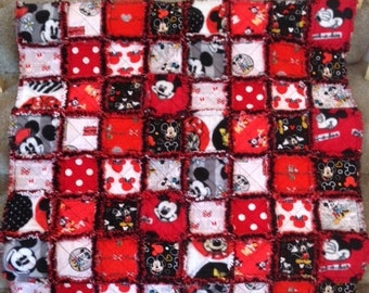 Mickey Mouse Baby/Toddler Rag Quilt with black and red - handmade