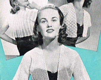 Ladies vintage Lace Bolero knitting pattern for modern knitting.  PDF Instant download.