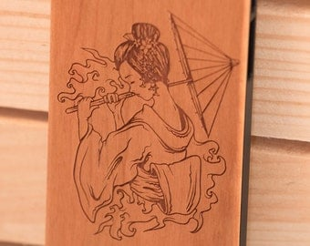 Geisha B054 Laser engraved Wood case for iPhone4/4S/5 with mat plastic