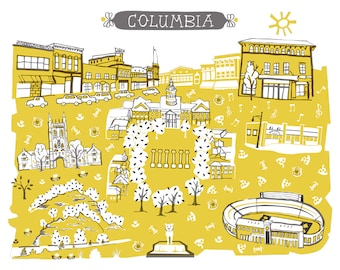 Wall Art-Columbia MO-Art Print-3 Color-City Illustrations-10x8-Gold-Black-Grey-Mizzou-MU