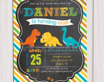 Dinosaur Birthday Invitation, Dinosaur chalkboard Invitation Printable, Dinosaur Invite, Printable DIY, Digital Printable, 5x7 JPG File