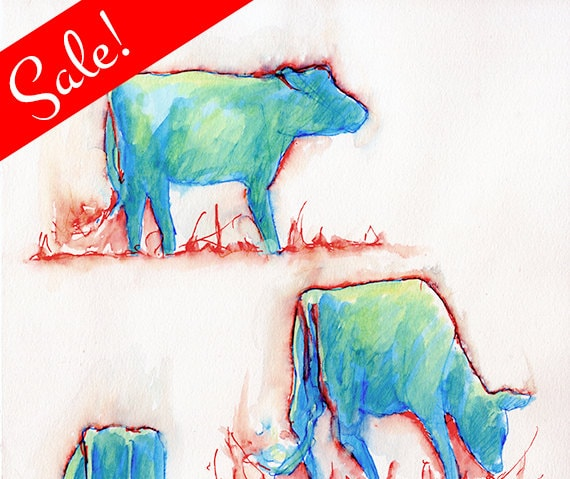 SALE: Flame Cows, Watercolor Painting