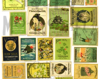 Vintage Japanese Silk Fabric Labels Digital Download Collage Sheet