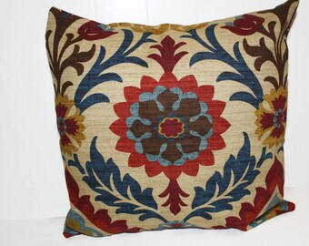 Decorative 16X16 Waverly Santa Maria Gem Brick Red and Tan  Pillow Cover