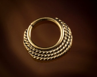 Small brass septum ring for pierced nose,CHANDRA Crescent, 1mm brass wire 18g,tragus ring,tragus jewelry (Code 38 )