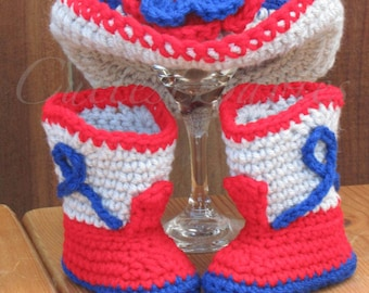 New England Patriots Newborn Baby Crochet Cowgirl Hat & Boots Photo Prop. 0-3, 3-6m.