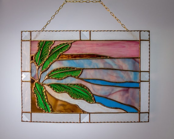 Ocean Palm Trees Sunset Sunrise Inspirational Stained Glass Panel Made in Hawaii Deesigns by Harris