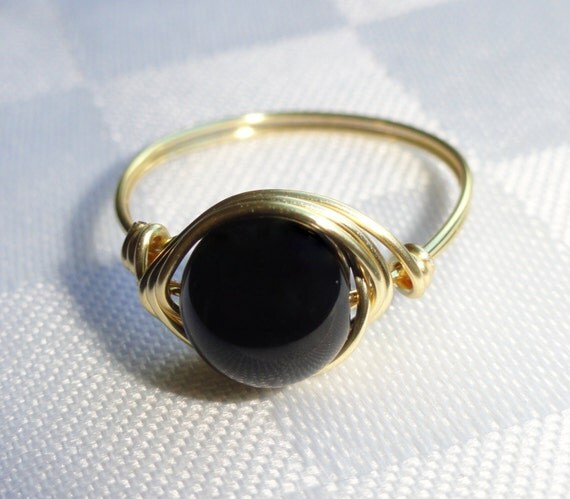 gold onyx wire ring onyx wire wrapped ring gemstone ring