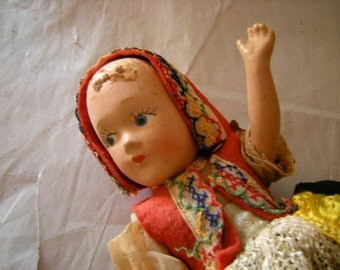 antique eastern european doll-costume-need loves-complete costume-collection-shelf display