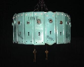 Turquoise Key Plate Chandelier (Junk Gypsy Style)