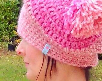 Trendy pink cap with tassel