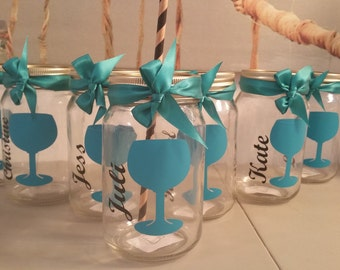 Bachelorette Personalized mason cup  W/ lid straw and bow perfect bridesmaids gift choose your colors