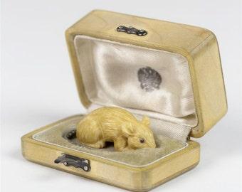 Russian Miniature Mouse w/Gold,Ruby,Silver & Diamonds-Signed Julius Rappoport