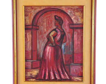 """Raul Anguiano """"Woman Under Archway"""" Original Painting on Canvas"""