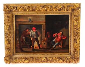 Flemish 18th century Interior Scene Oil Painting