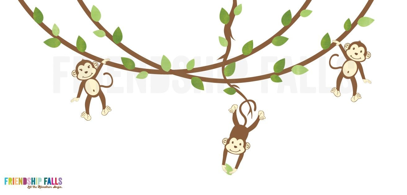 how to draw a monkey hanging from a vine