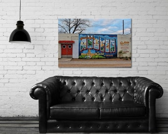 Canvas Gallery Wrap - Greetings From Austin - Colorful Wall Art - City Mural - Austin, TX - Fine Art Photography